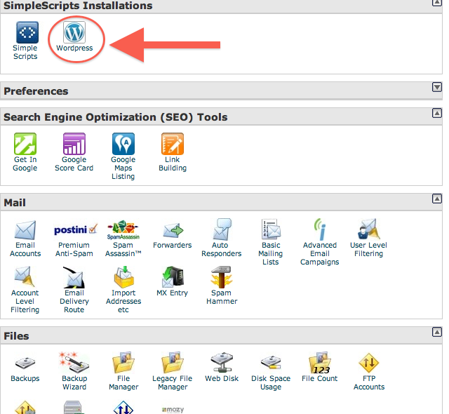 Using the Cpanel to Install WordPress