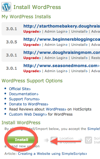Simply click Install and you have WordPress on your website