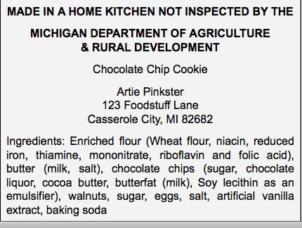 Cottage Law Food Label