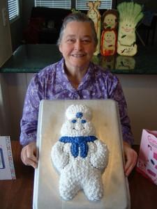 Grandma holding a cake